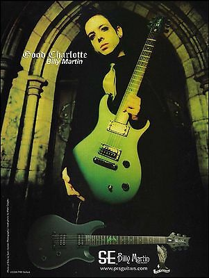 Good Charlotte Billy Martin Signature PRS SE guitar ad 8 x 11 advertisement
