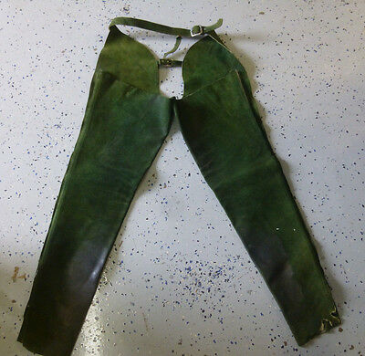Vintage Youth Suede Leather Cowboy Cowgirl Western Riding Chaps Green Size S