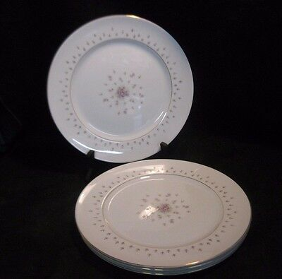Nikko Seyei China Normandy 460 Dinner Plates Japan Floral & Gold Verge Set of 4