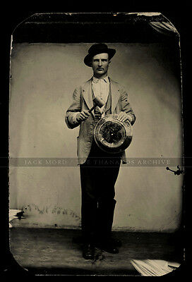 Antique Occupational Tintype Photo Man Holding Hammer & Gold Rush (?) Pan