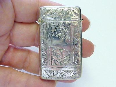 Victorian Albo Silver Co Match Safe Case Vesta Swirl Motif Silverplate