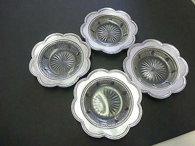 4 Gorham Coaster Cut Glass Sterling Silver Butter Nut Candy Bowl SET S1782