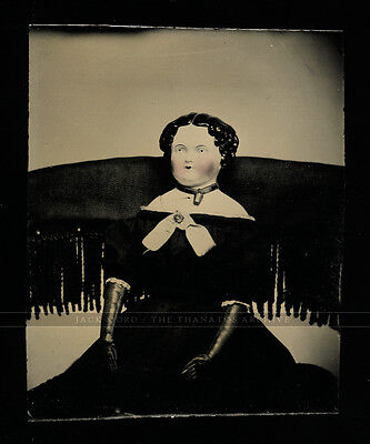 unusual antique 1860s miniature tintype photo china head doll in chair - creepy!