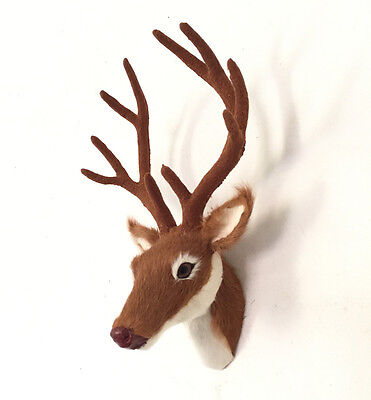 Deer Head Mount Realistic Animal In Fur Figurine For Home Or Office Gifts