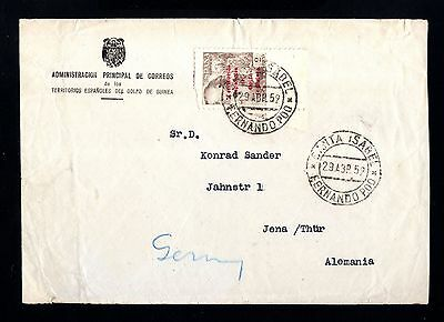 15933-SPANISH GUINEA-OFFICIAL COVER FERNANDO POO to JENA (germany)1952.Spain col