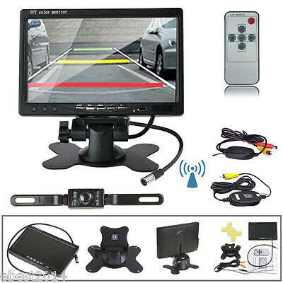"7"" TFT LCD Monitor Truck Bus Wireless Backup Camera Kit Night Vision Rear View"