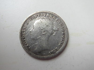 1879 Great Britain 3 Pence Silver Foreign Coin Free S/H