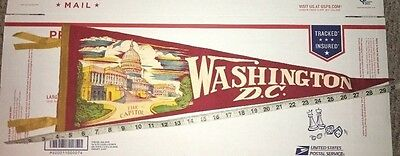 Vintage LARGE USA Capitol Felt Pennant Washington DC Red Yellow 1940's to 1950's
