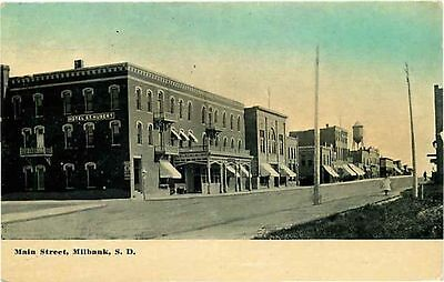 Postcard Main Street Scene in Milbank, South Dakota - used in 1915