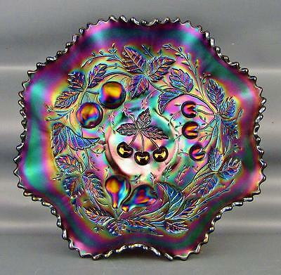 CARNIVAL GLASS - NORTHWOOD THREE FRUITS Amethyst Ruffled Bowl Plain Ext. 3748