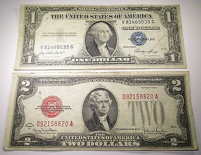 1928 U.S. Two Dollar Bill & US 1 Silver Certificate Antique Currency Collection