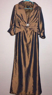 CACHET Womens SIZE 10 Formal Mother of the Bride Groom Dress Jacket BROWN-GOLD
