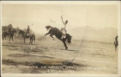 Tucson AZ Rodeo Cowboy Frank Shultz on Horse Hell to Set Real Photo Postcard