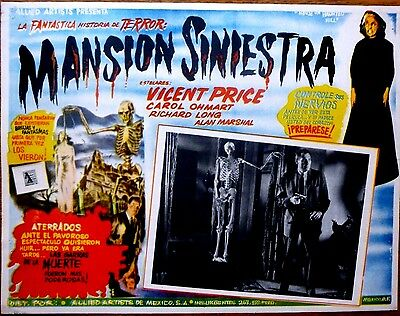 HOUSE ON HAUNTED HILL '59 Mexican Horror Lobby Card SKELETON STALKS UNSUSPECTING