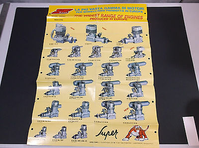 """Vintage Super Tigre Model Plane Buggy Engine Poster   16.5 """"w  X  23"""" T *f-Cond*"""