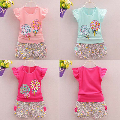 Toddler Kids Baby Girl Outfit Lolly T-shirt Tops+Short Pants Clothes 2PCS Set US