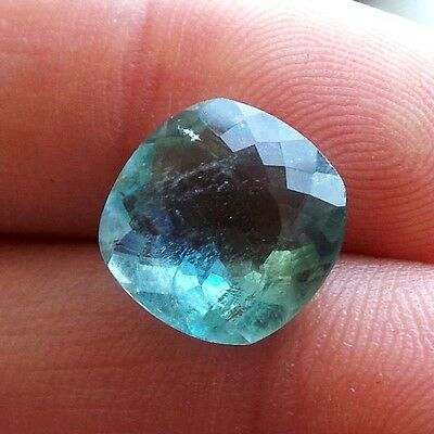 Natural Blue Aquamarine 11X11Mm Cushion Gorgeous Very Beautiful Santa Maria Gem