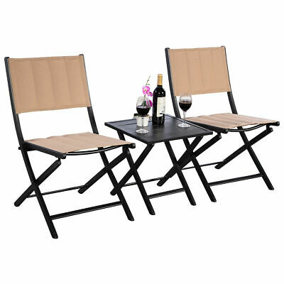 3PCS Furniture Outdoor Patio Folding Square Table Chairs Set Bistro Garden