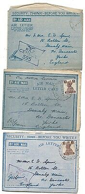 WW2 War Covers - RAF India Officers Air Letters RAF Censor to Doncaster