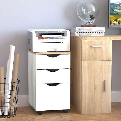 3-Drawer Rolling Filing Cabinet File Storage Organizer Home Office White 13x18""