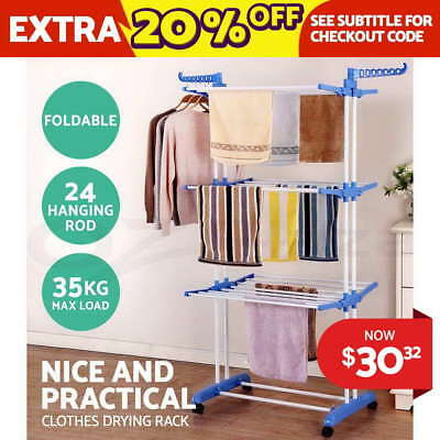 Foldable 6-Tier Clothes Air Indoor Laundry Drying Rack Horse Garment Hanger