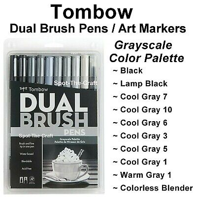 Tombow Dual Brush Pen Set Art Markers 10 Grayscale Colors 56171