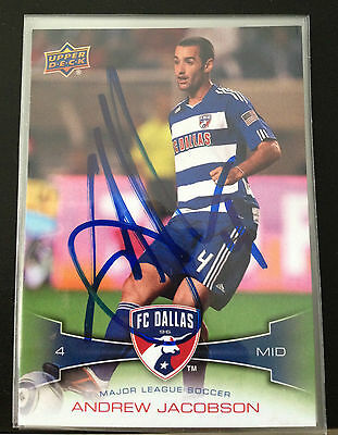 Dallas FC Andrew Jacobson Autographed 2012 Upper Deck UD MLS Card