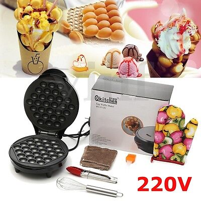 640W Electric Non stick QQ Egg Maker Oven Waffle Eggettes Baker Machine Tool Set