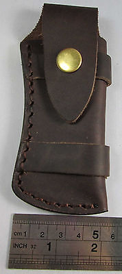 "Folding Pocket Knife Sheath 5"" Smooth Brown Genuine Leather Belt Case TS-Sheath"