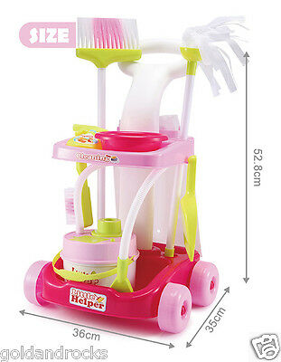 NEW Kids Toy Play Set Cleaning Trolley Cleaner Housework Pretend Play Broom