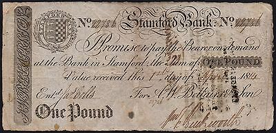 1814 STAMFORD BANK £1 BANKNOTE * 22786 * VG * Outing 2030a *