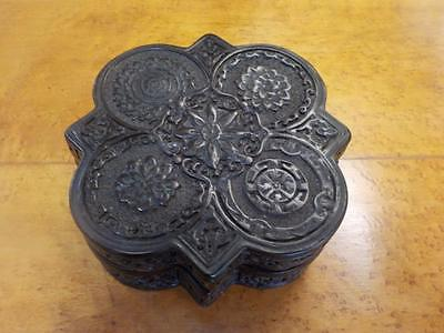 Antique Chinese Hardwood Trefoil  Carved Box With Lid 19th Century