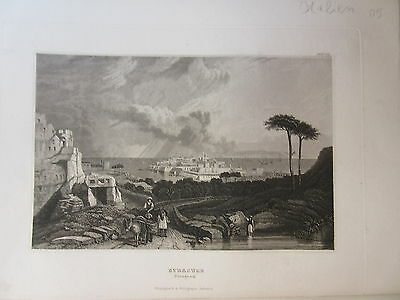 Stahlstich um 1850 - Syracuse, Sizilien in Italien (CE1)