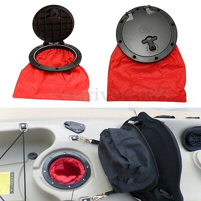 6'' Black Marine Hatch Cover Pull Out Deck Plate + Bag Kit For Boat Kayak Canoe