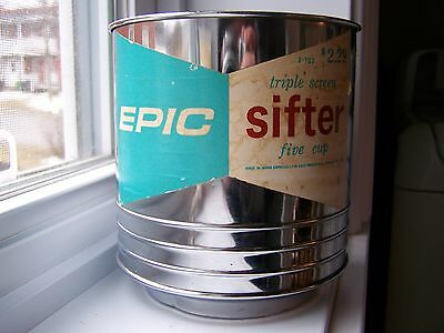 Vintage Triple Screen Kitchen Flour Sifter Five Cup Epic Sifter By Ekco 1962