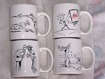 4 Rare Vintage Maxwell House Baseball Scenes Coffee Tea Mug Cup Sports Scenes