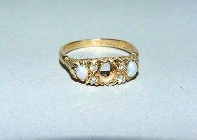 Vintage 18Ct Gold Opals & Diamonds Ring. Stone Missing. Size O. Maker S&d.