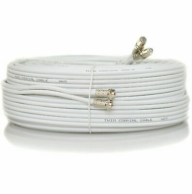 50m White Metre Twin Satellite Sky HD+ Extension Cable Lead Fitted Coax Shotgun