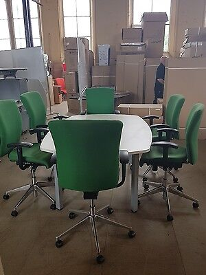 Used boardroom conference table in white and 6 used orange box chairs