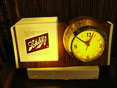 Schlitz light and barrel shaped clock combination, old, rotating drum, faux wood