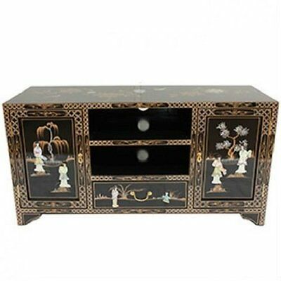 Black Lacquered With Mother of Pearl TV Cabinet Oriental Furniture Chinese Art
