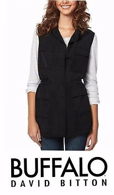 Buffalo David Bitton Ladies Lightweight Vest/Shirt Large Black FREE SHIPPING M31