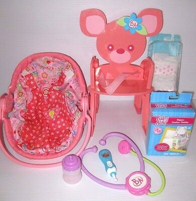 BABY ALIVE Doll Lot CARRIER, CHAIR, DIAPERS, THERMOMETER, STETHOSCOPE, BOTTLE