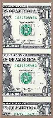 "$1 Bill ""Wrong-Way"" Miscut - 3 different serial #'s - CU - False Cutting Error"