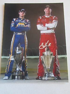 KEVIN HARVICK,CHASE ELLIOTT Auto 11x14 2014 Sprint Cup & Nationwide Trophy Photo