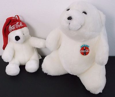 2 Coca Cola White Polar Bear Plush Stuffed Red Santa Hat Ornament 1993-2006