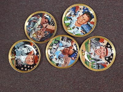5 Franklin Mint Royal Doulton Ruth, Ford, Gehrig,  Young & Dean  Collector Plate