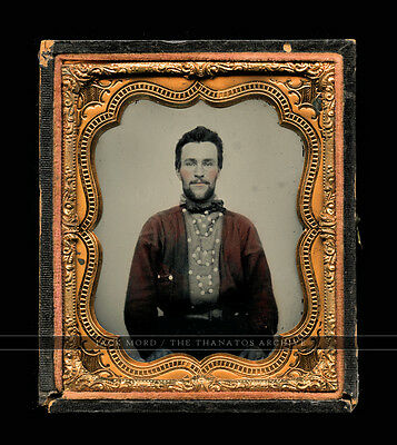 Antique Ambrotype Photo 1860s Handsome Bearded Man in Unusual Uniform RED Shirt