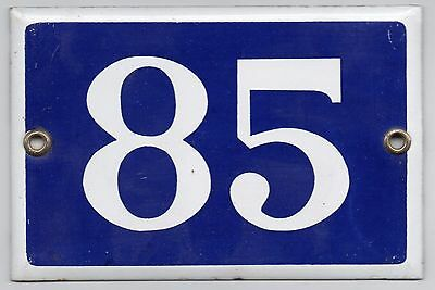 Old blue French house number 85 door gate plate plaque enamel metal sign steel