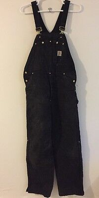 Men's CARHARTT 100% Cotton Insulated Bib Overall's Size 38 x 36 Black